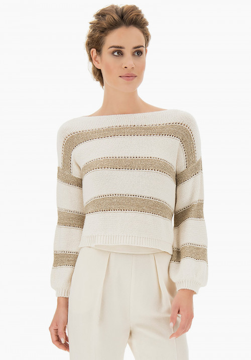 Gestreifter Pullover Golden Twist