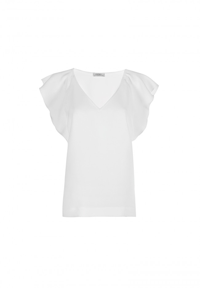 Blusa Maniche Volant Solid Color