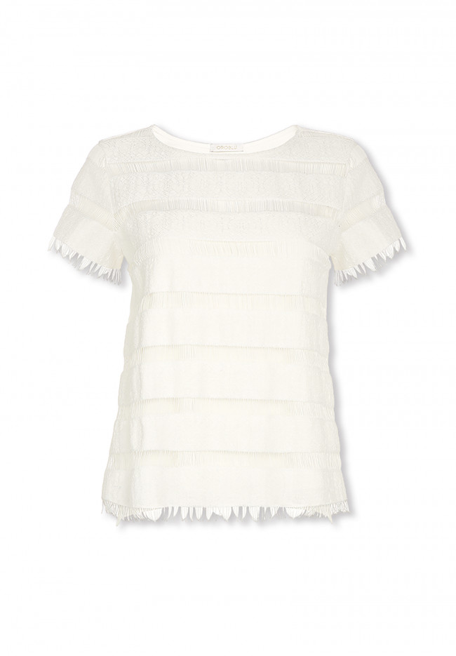T-shirt con finiture sfrangiate Moonflower