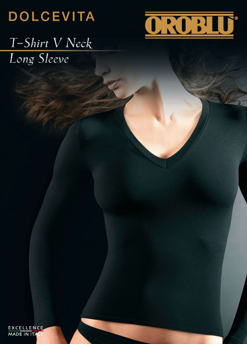 V-Neck Long Sleeves T-Shirt Dolcevita Oroblu
