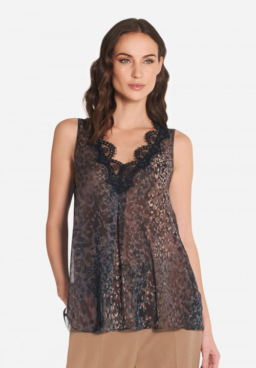 Top ampio in georgette Monet