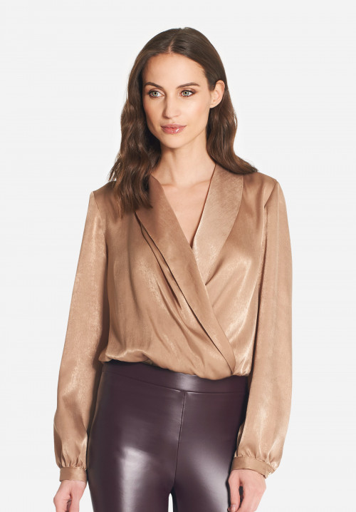 Milà vintage effect satin shirt bodysuit