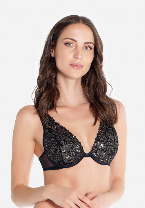 Padded Balconette bra with sequins Boheme