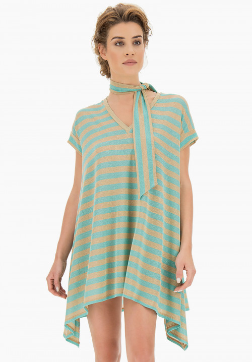 Garden Striped Lurex maxi t-shirt