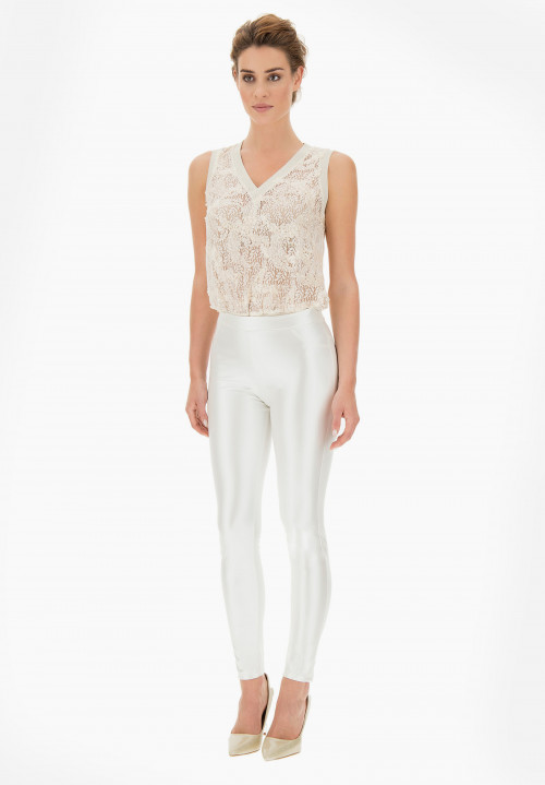 Pearl Eco leather mother-of-pearl Jeggings