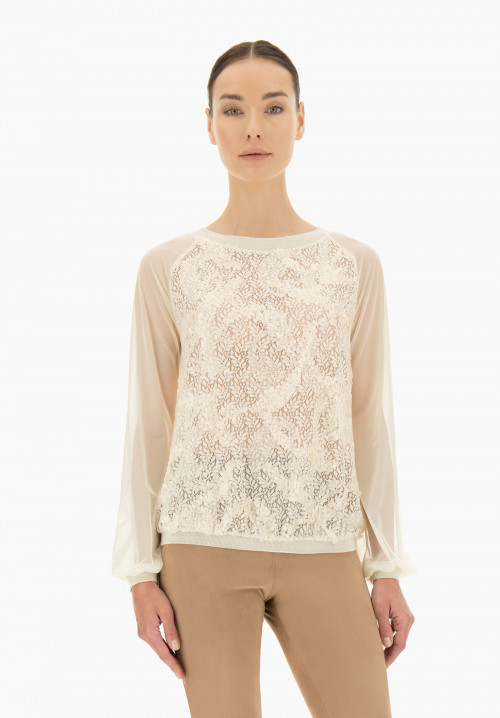 Frangipani Embroidered t-shirt