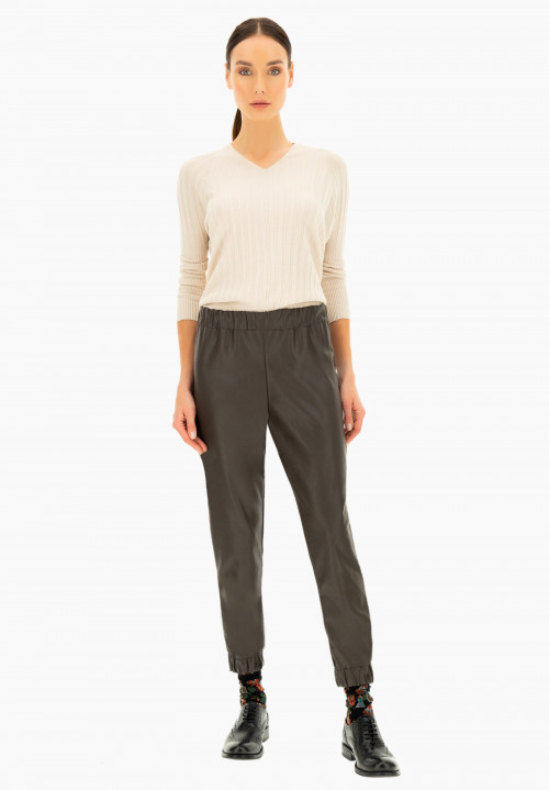 Pieris pull on eco leather sporty leggings