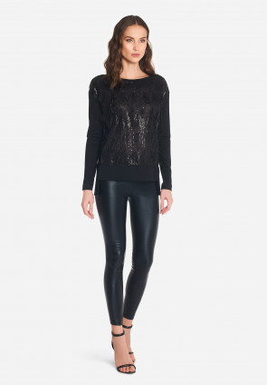 T-shirt in paillettes e piume Plumet