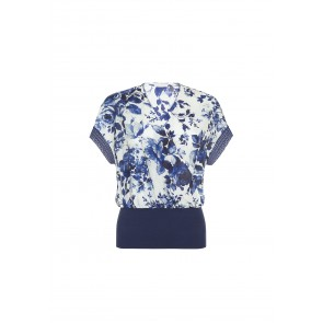 Blusa con incrocio in cotone e seta Blue Fairy