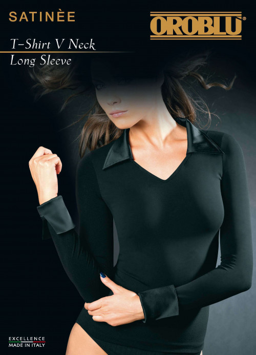 T-Shirt V Neck Long Sleeve Satinee