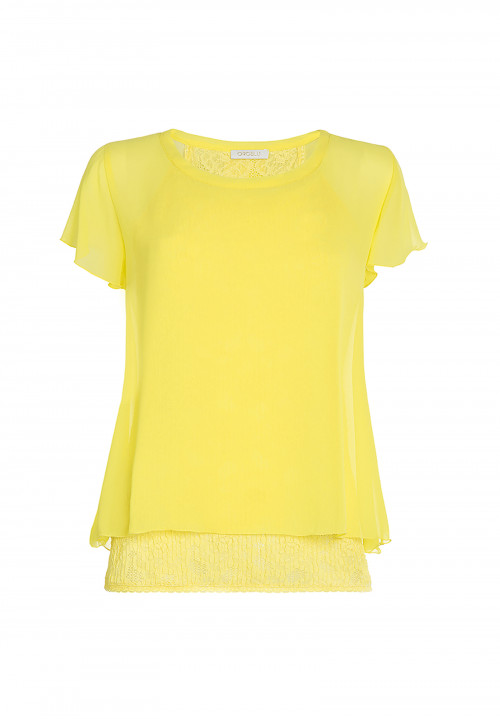 Blusa in chiffon e pizzo Sunflower