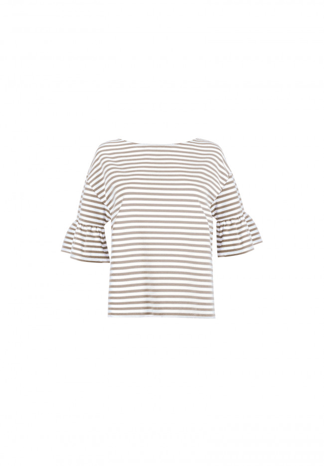 Graphic Flounced Striped Short-Sleeve Sweater
