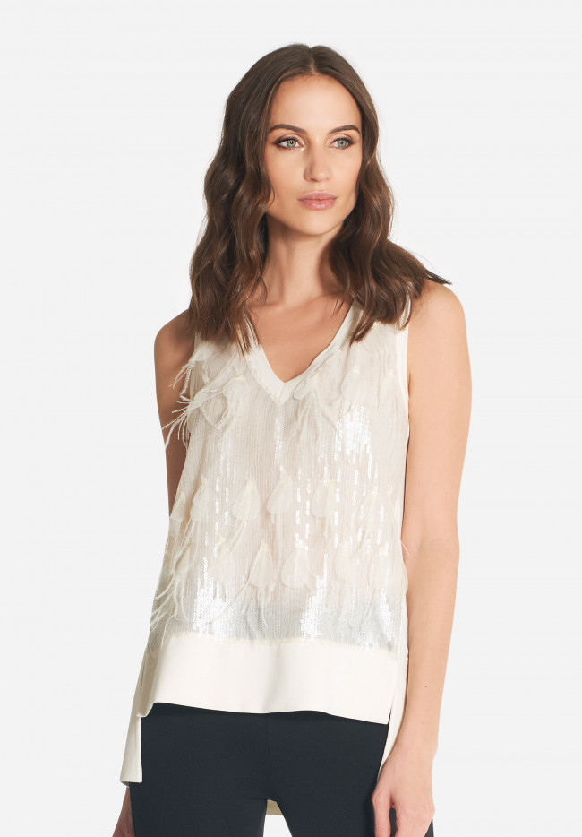 Plumet sequin and feather top