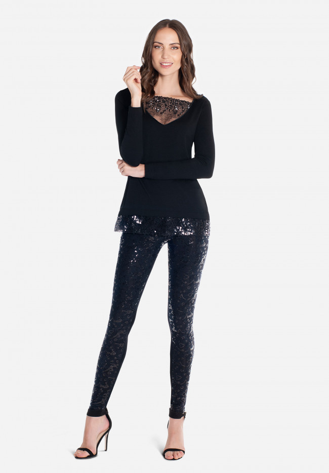 Stretch jeggings with sequins  Boheme