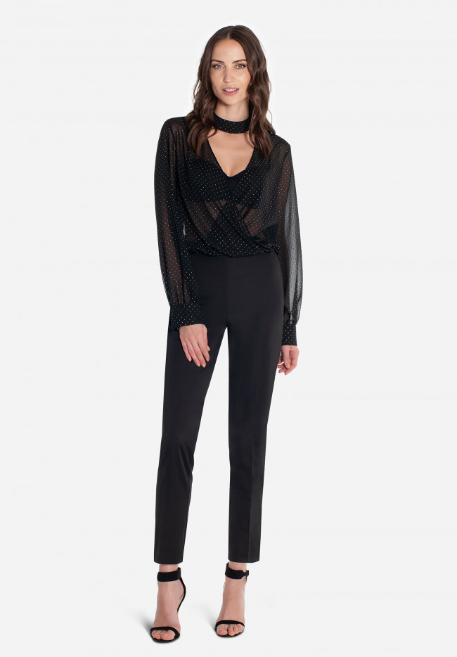 Cigarette trousers in a light semi-glossy fabric Milan