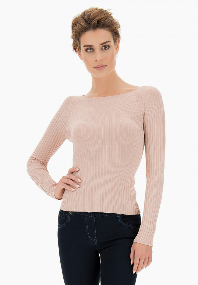 Mauve ribbed tight-fitting line knit