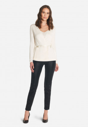Tiffany ribbed wrap-over top
