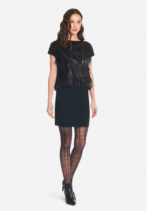 Plumet sequin and feather mini dress