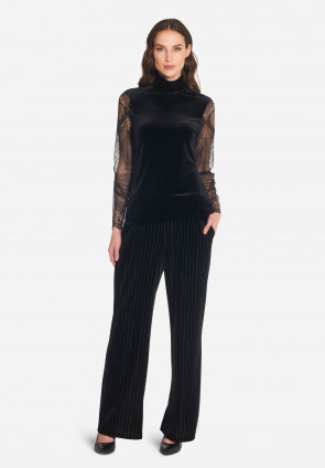 Chenille and Majorelle lace mock turtleneck