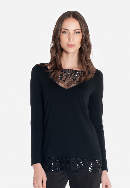 Fitted t-shirt with sequins inserts Boheme