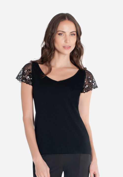 Short sleeve t-shirt with sequins inserts Boheme