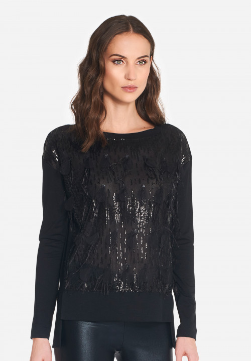Plumet sequin and feather T-shirt